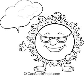 Sun smiley with glasses, contours