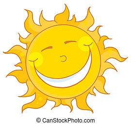 Sun Smiling - Smiling Sun Mascot Cartoon Character