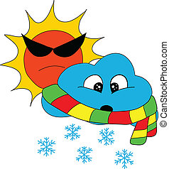 Sun Snow Weather - Sun with Snow Icon for Weathe Forecast
