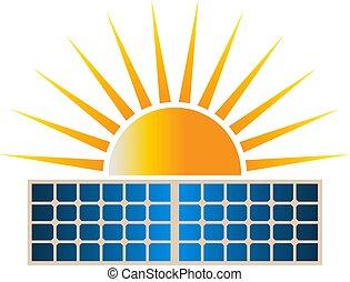 Sun Solar Dual Panel Logo Clipart Vector Illustration