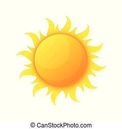 Sun illuminating warmth and heat vector, isolated sunburst, solar planet floating, isolated icon in flat style. Sunlight and fine weather beam and sunburst