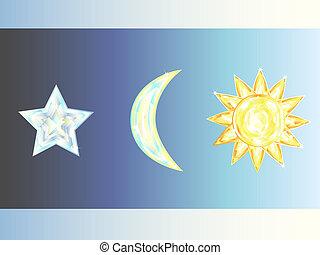 sun, star, moon