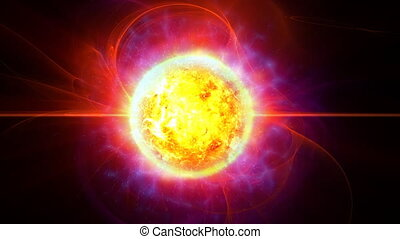 Sun with protuberances and gas activity in deep space