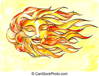 Sun on the wind watercolor painted.Picture I have created...