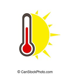 sun., stockage, weather., icône, chaud, vecteur, thermomètre, simple, illustration.