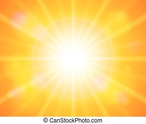 sun - Sun with sunbeam on a orange sky. Vector illustration....