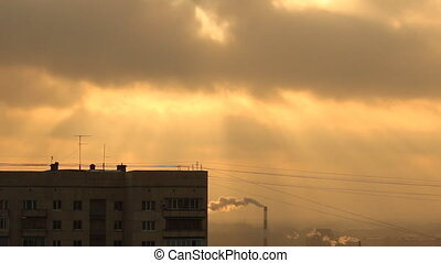 Sun. Sunrise, sunset. Urban Landsca