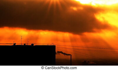 Sun. Sunrise, sunset. Urban Landsca