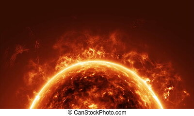 Sun surface and solar flares animation