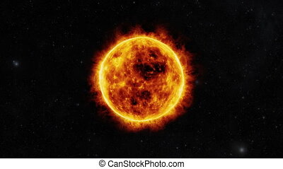 Sun surface with solar flares. 3D animation