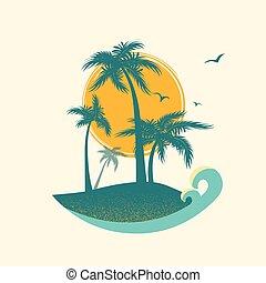 sun., symbol, paradies, tropische , handflächen, insel, vektor, silhouette