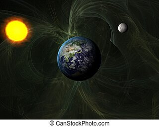 Sun system with Earth and Moon with distant galaxy