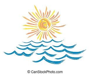 sun., tenger, táj