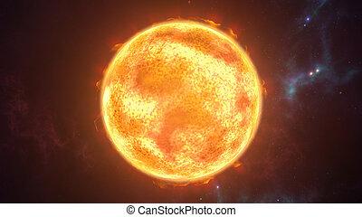 Sun the burning planet in cosmic scene. 3D rendering - 3D...