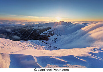 sun., tramonto, sopra, nubi, inverno