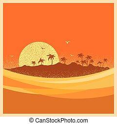 sun., tropical, palmas, isla, vector, cartel
