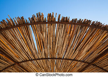 Sun Umbrella Details - Abstract of wooden sun umbrella and ...