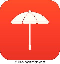 Sun umbrella icon digital red