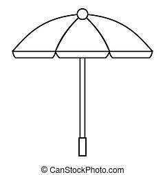 Sun umbrella icon, outline style