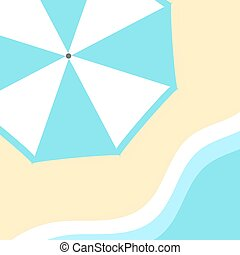 Sun umbrella on the beach and see wave