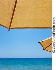 Sun Umbrellas and the Ocean