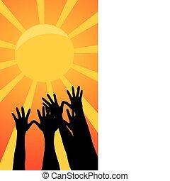 sun., vector, alcance, ilustración, manos