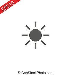 Sun vector icon on white background.