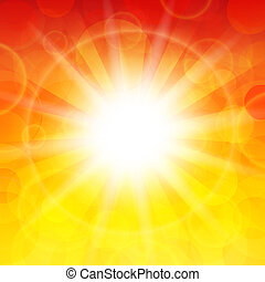 Sun - Vector illustration of the sun on a bright background