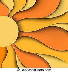 sun., vettore, illustrazione