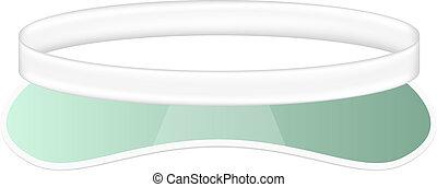 Sun visor hat in white and green design on white background