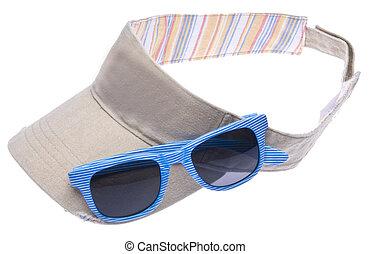 Sun Visor with Sunglasses - Neutral colored sun visor with ...
