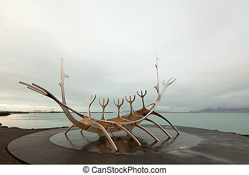 Sun Voyager sculpture in Reykjavik Iceland at sunset