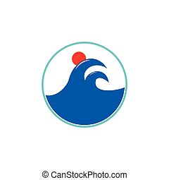 sun waves symbol logo vector