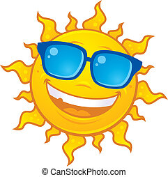 Vector cartoon sun character wearing sunglasses. Great for summer designs.