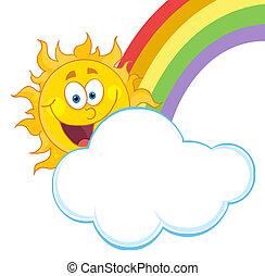 Sun With A Cloud And Rainbow - Happy Sun Hiding Behind Cloud...
