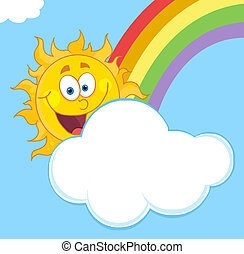 Sun With A Cloud And Rainbow