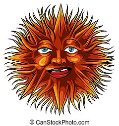 Sun with a face in ethnic style. Astrological symbol. Abstract image of the planet. Tribal print, tattoo.