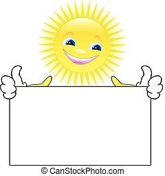 Sun with a placard