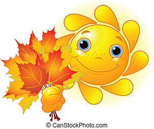 Sun with autumn leaves - Cartoon Character of Cute Sun...