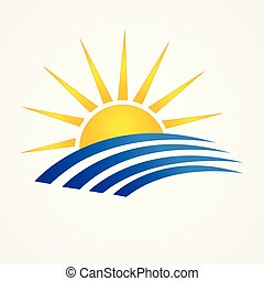 Sun with beach swooshes logo