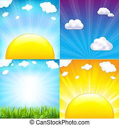 Sun With Beams Set, Vector Illustration