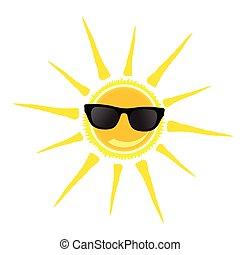sun with black glasses illustration