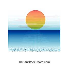 Sun with blue ocean
