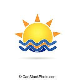 sun with blue sea icon vector illustration