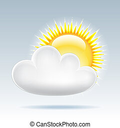 Sun with cloud floats in the sky
