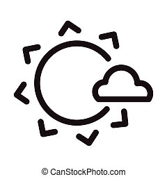 sun with cloud, line style icon