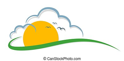 Sun with clouds and birds.