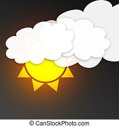 sun with clouds in the dark sky. Weather symbol
