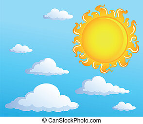 Sun with clouds theme 1