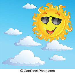 Sun with clouds theme 3